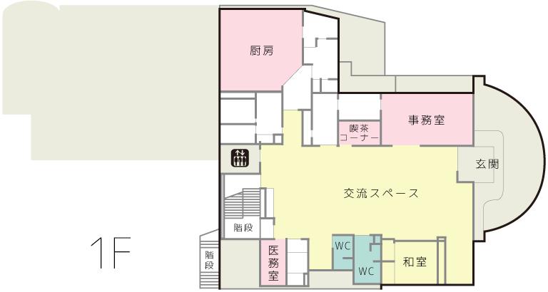 1階には玄関はもちろん、交流スペースや喫茶コーナーなど、入居者以外の方と交流できる場が設けられています。