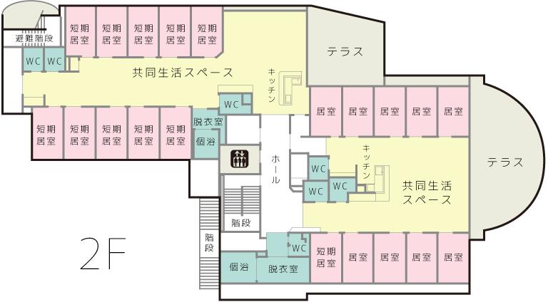 2階は短期入居の方と通常入居の方の部屋が半分ずつあります。また眺めの良いテラスがあります。