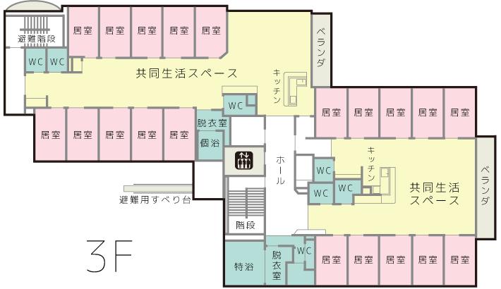 3階は通常入居の方の部屋のみになります。また2階と異なり、こちらはベランダがあります。